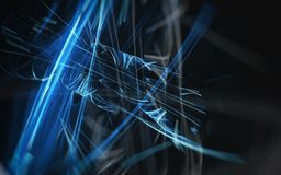 Bright blue glowing lines on a black background. A dynamic image double exposure huge resolution Stock Images