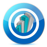 Bright blue graph on a target. Illustration design over white Royalty Free Stock Image
