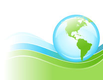 Bright Blue and Green Wave Globe of Earth. A bright globe of the Earth is rolling on a blue and green wave of energy Stock Photography