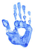 Bright blue handprint Stock Images