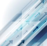 Bright blue hi-tech background with arrows stock illustration