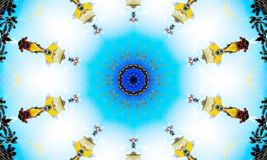 Bright blue mandala Art with repetitive shapes. A bright blue mandala Art with repetitive `Beings` shapes all placed in a circle stock illustration