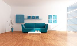 Bright blue modern  lounge Royalty Free Stock Image