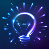 Bright blue neon lights abstract bulb Royalty Free Stock Image