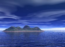 Bright Blue Ocean Island Scenery Stock Photography