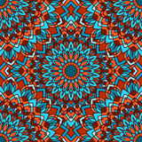 Bright blue and orange hand-drawing ornamental floral abstract seamless background with many details Stock Photography