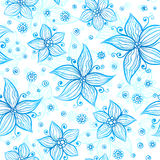 Bright blue ornate flowers vector seamless pattern Royalty Free Stock Photography
