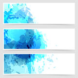 Bright blue paint abstract web header collection Royalty Free Stock Images