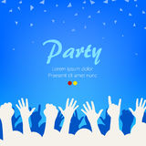 Bright blue party background. Group of people hands on party. Clean background. Vector illustration Royalty Free Stock Image