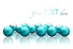 Bright blue pearls texture. Abstract smooth shining beads. Accumulation of molecules on white gloss background. 3d illustration ba Royalty Free Stock Image