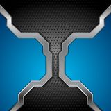 Bright blue and perforated metallic technology background Stock Image
