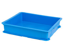 Bright blue plastic crate Royalty Free Stock Photography