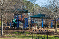 Bright Blue Playground in Winter Park Stock Image
