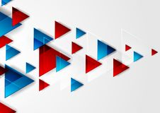 Bright Blue And Red Tech Triangles Background Stock Vector