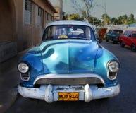 Bright blue retro car Stock Photography