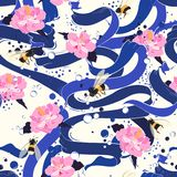 Bright blue ribbon flowing with blooming hibiscus flower and bub. Bles delicate mood seamless pattern design for fashion,fabric,wallpaper and all prints royalty free illustration