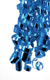 Bright Blue Ribbons. Bright blue curly ribbons against a white background Stock Image