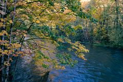 Blue river in autum Royalty Free Stock Image