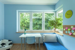 Bright blue room Stock Images