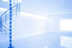 Bright blue room with spiral staircase Stock Photography