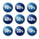 Bright blue round buttons with discount offers. From 90 to 10 percent. Tags for winter sale, with snowflakes. Plastic circle labels on white background with Stock Photos