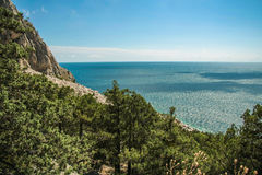 Bright blue sea and rocks and forest on a sunny day in the Crimea. Crimean summer lamdscape. Aya cape, coniferous forest and rocks Royalty Free Stock Image