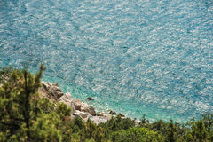 Bright blue sea and rocks and forest on a sunny day in the Crimea. Crimean summer lamdscape. Aya cape, coniferous forest and rocks Stock Images