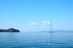 Bright blue sea scenery. Bright blue sea scenery near russian seaport Vladivostok royalty free stock photos