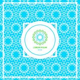 Bright blue seamless background. Stylized lace ornament. Simple geometric logo. Stock Images