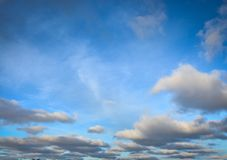 Bright blue skies with white fluffy clouds. Blue sky in Wisconsin with white fluffy clouds Royalty Free Stock Image