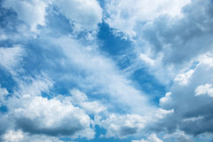 Bright blue sky background with white clouds Royalty Free Stock Photo