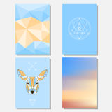 Bright blue sky and beige colored set with geometric deer and polygonal background for use in design for card, poster, banner Stock Image