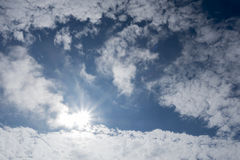 On the bright blue sky. Cloudy sky Stock Photo
