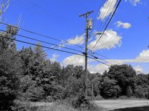 The Bright Blue Sky. Bright blue sky with fluffy white clouds against a telephone pole and line of trees in black and white stock photography