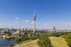 Bright blue sky on a sunny day in Olympiapark in Munich, Germany. Famous landmark Stock Images