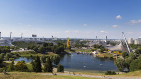 Bright blue sky on a sunny day in Olympiapark in Munich, Germany. Famous landmark Stock Photos