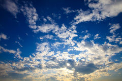 Bright blue sky with white clouds Royalty Free Stock Photo