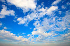 Bright blue sky with white clouds Royalty Free Stock Photography