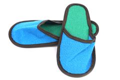 Bright blue slippers Stock Images
