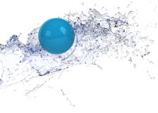 Bright blue sphere in water splash Stock Photos