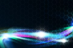 Bright blue streams of energy glowing. Abstract Background Design. Over hexagons background Royalty Free Stock Photo