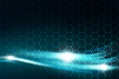 Bright blue streams of energy glowing. Abstract Background Design. Over hexagons background Stock Photography