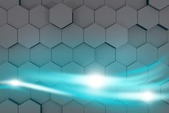 Bright blue streams of energy glowing. 3d rendering. Bright blue streams of energy glowing. Abstract Background Design. Over hexagons background. 3d rendering Stock Photo