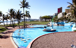 Bright Blue Swimming Pool on Beacfront in Durban Stock Photo