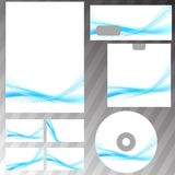 Bright blue swoosh abstract stationery set Royalty Free Stock Image