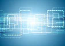 Bright blue tech background with shiny squares Royalty Free Stock Photo