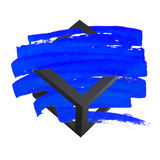 Bright blue vector brush stroke hand painted background with frame. Unusual Stock Photo
