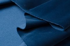 Bright blue velour textile sample. Fabric texture background Royalty Free Stock Photos