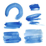 Bright blue watercolor brush strokes Royalty Free Stock Image