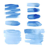 Bright blue watercolor brush strokes Stock Image
